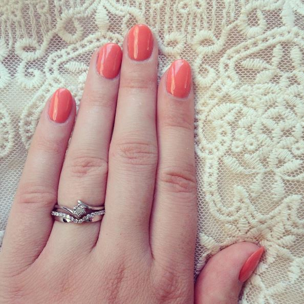 Wedding-Engagement-Ring-Orange-Coral-Gel-Nails