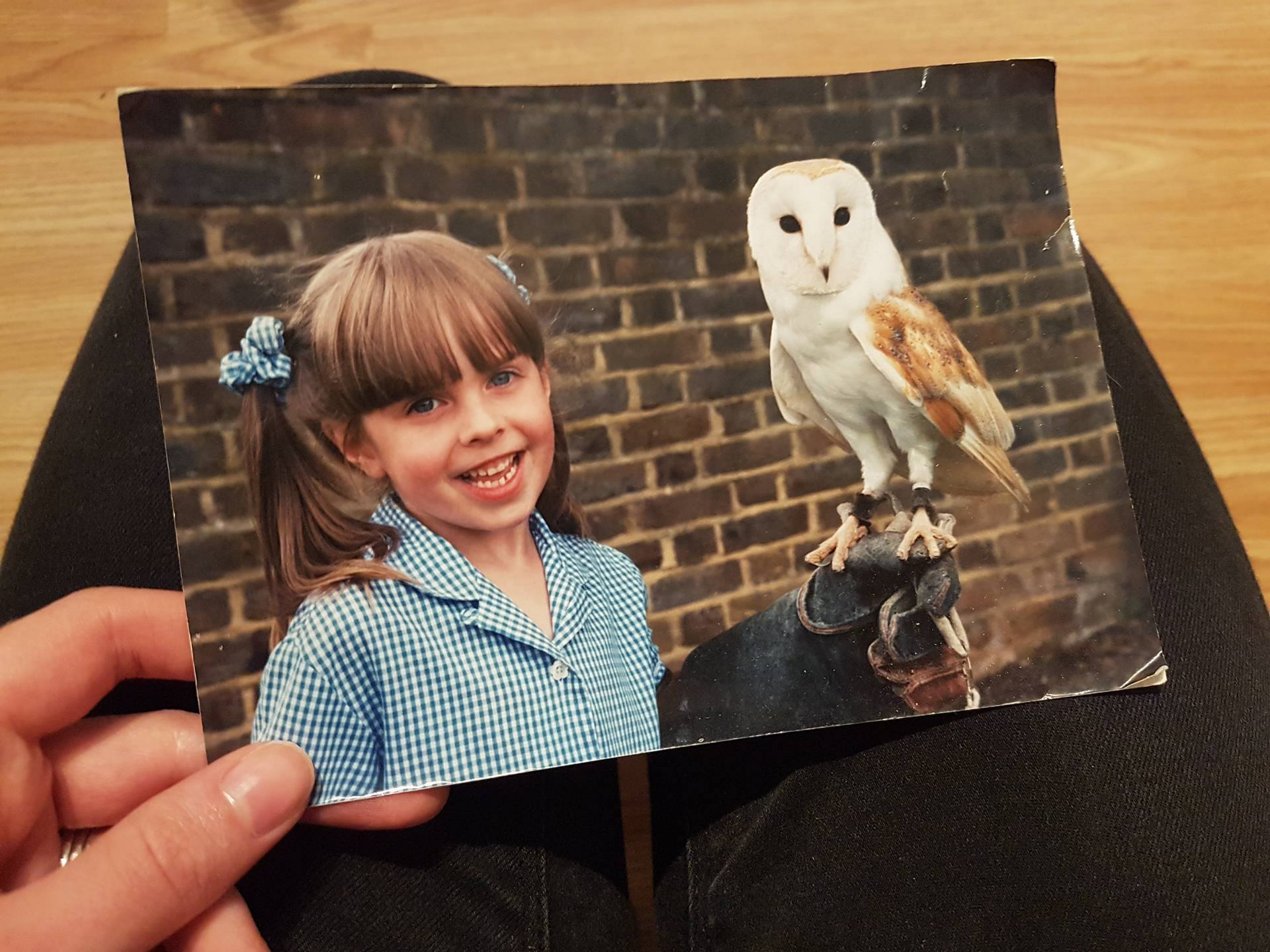 Laura and a barn owl