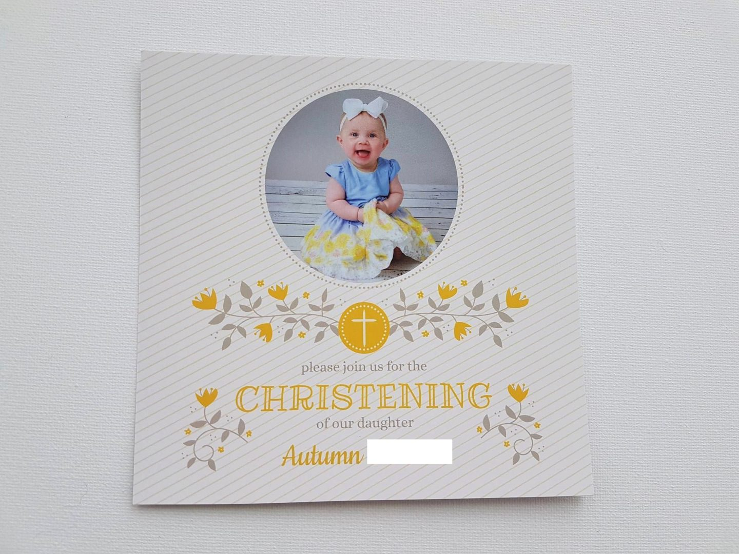 Christening invitation, front