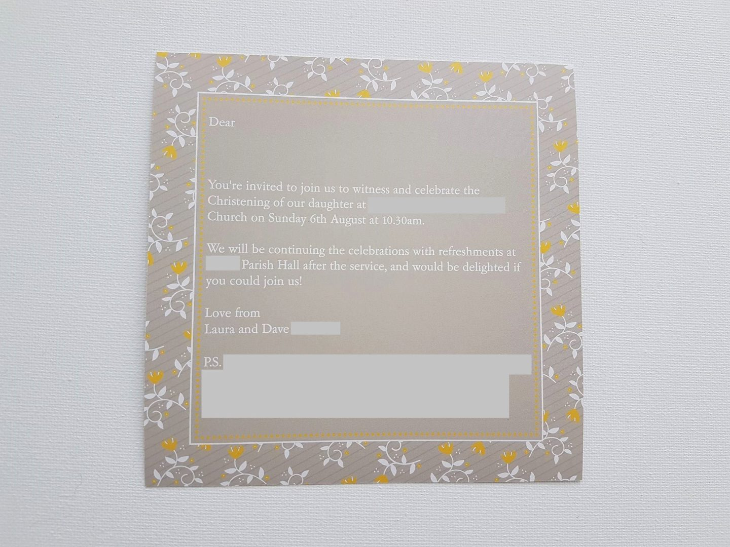 Christening invitation, back