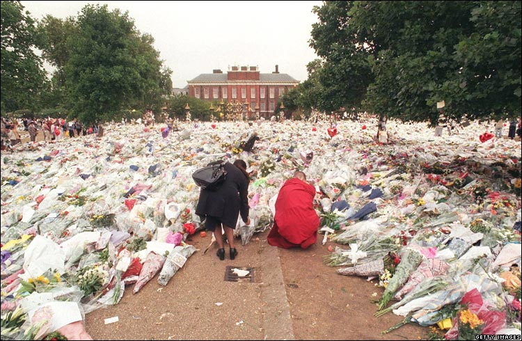 BBC News Princess Diana flowers at Kensington Palace