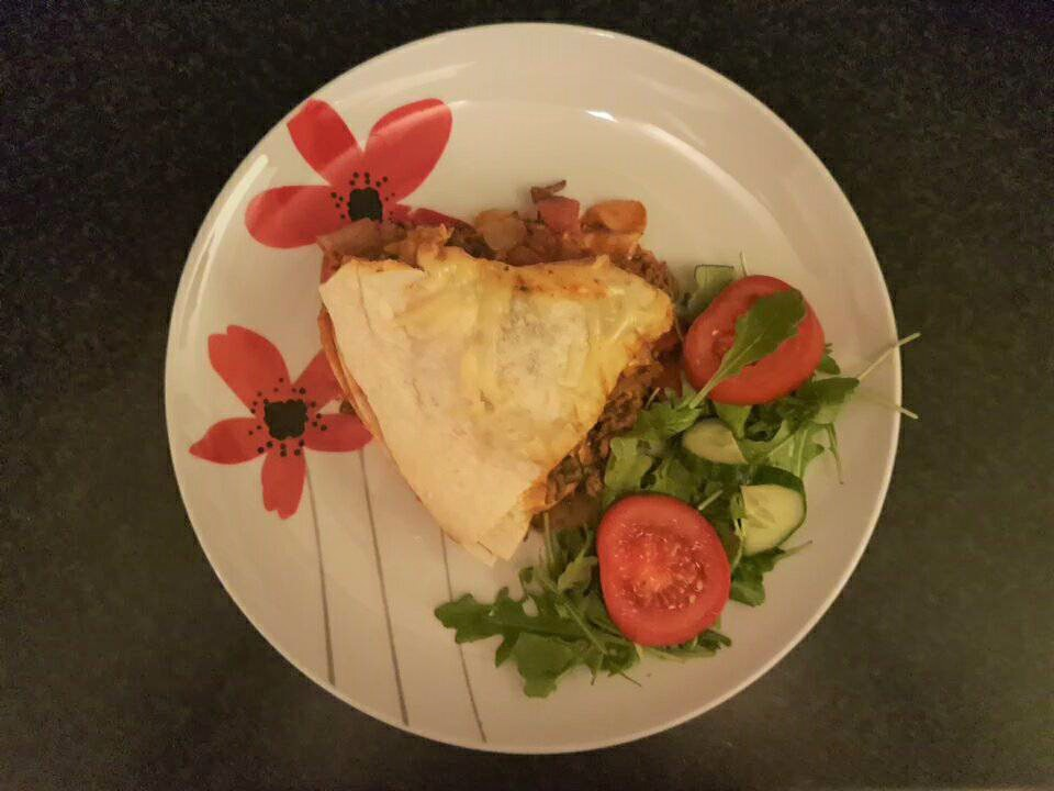 Mexican lasagne served