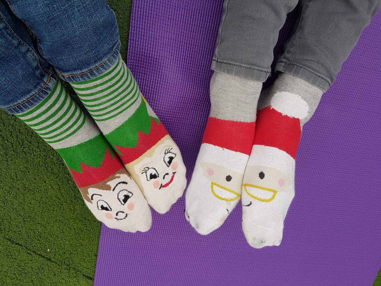 Christmas socks, elf and santa