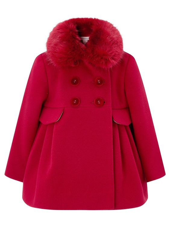 Monsoon Red Faux Fur Coat
