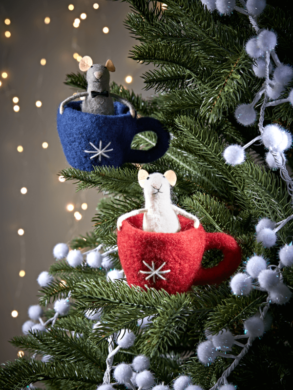 felt teacup mice - Christmas Mice Decorations