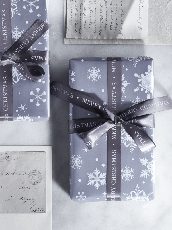 Grey Snowflakes Wrapping Paper and Snowflake Gift Ribbon
