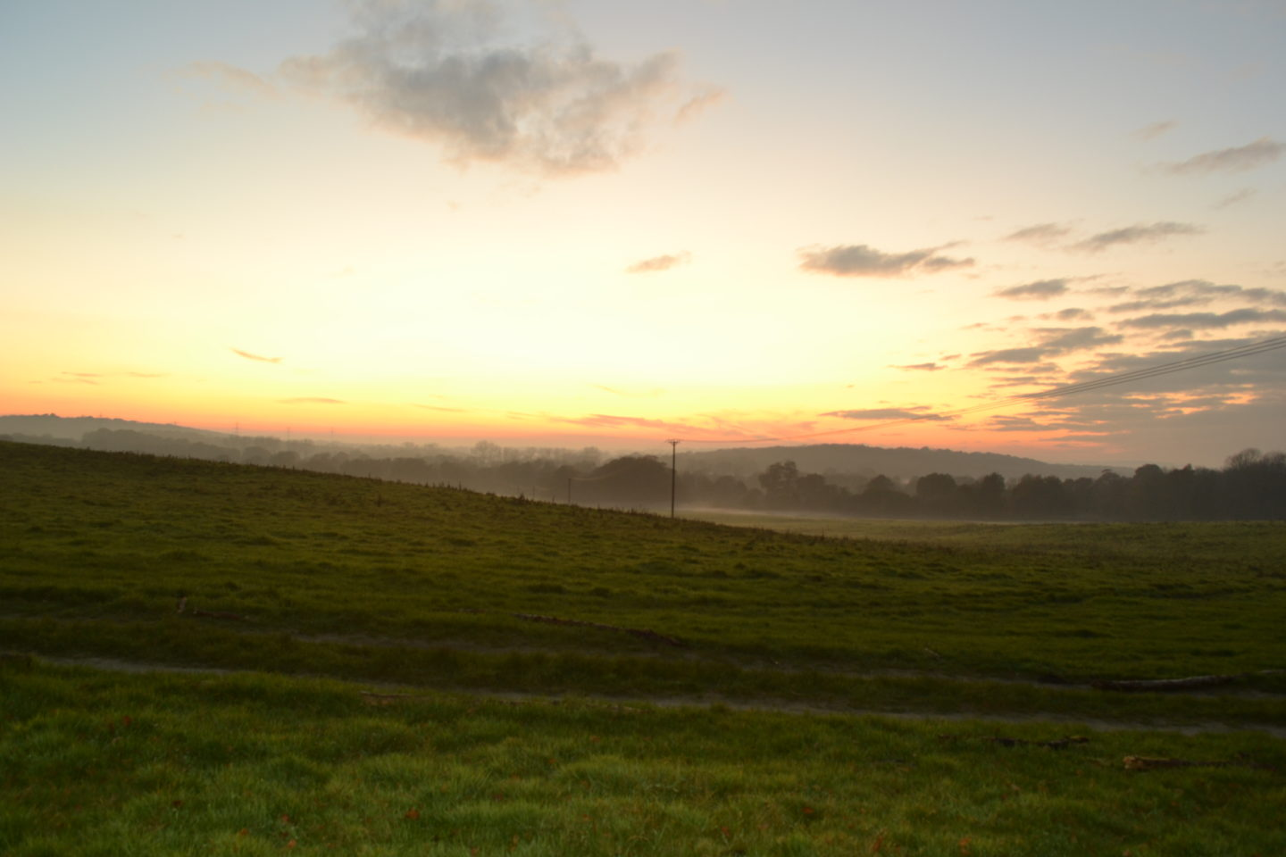 Misty sunset in East Sussex