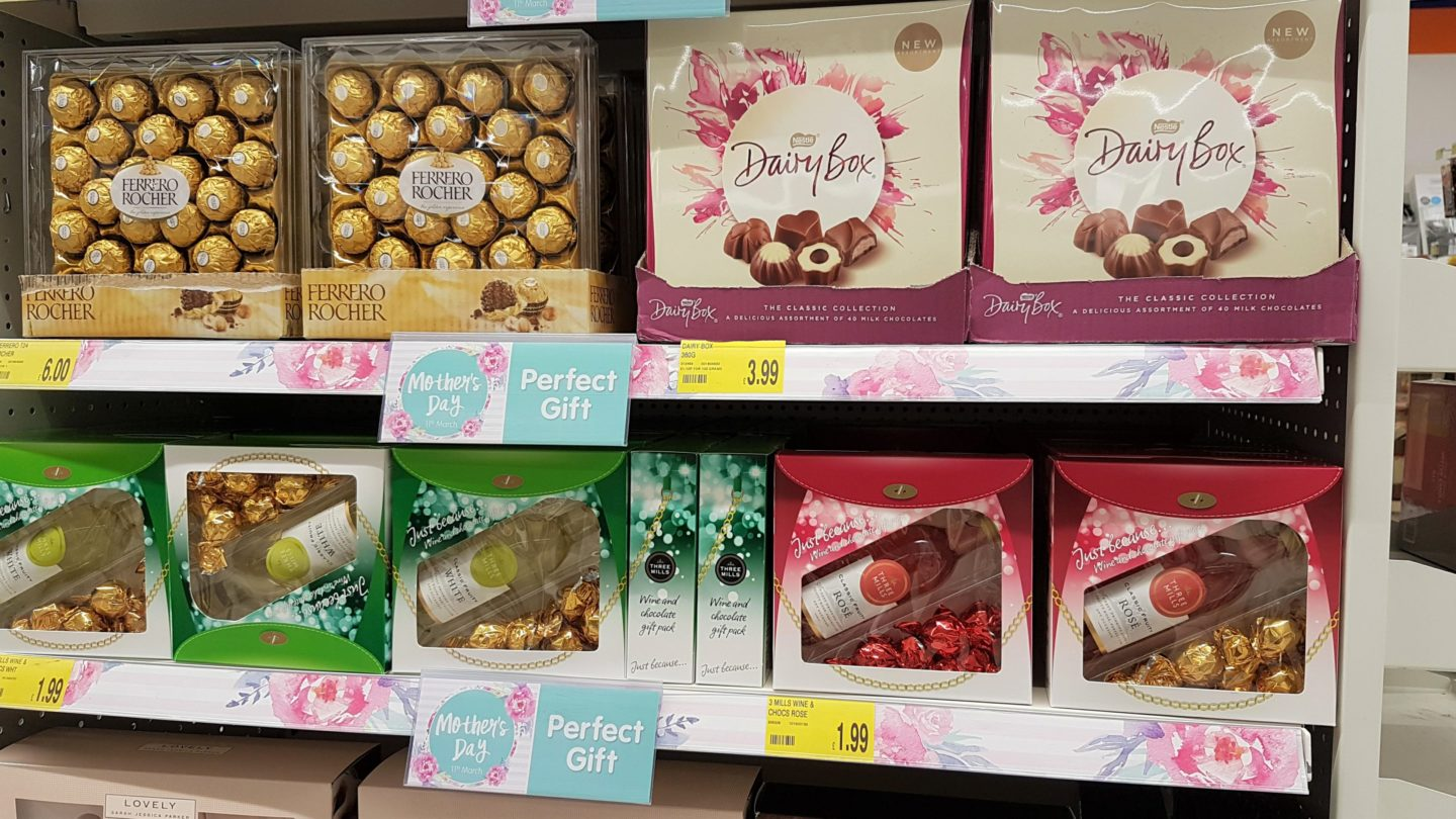 Chocolate and wine gift sets, Dairy Box and Ferrero Rocher at B&M