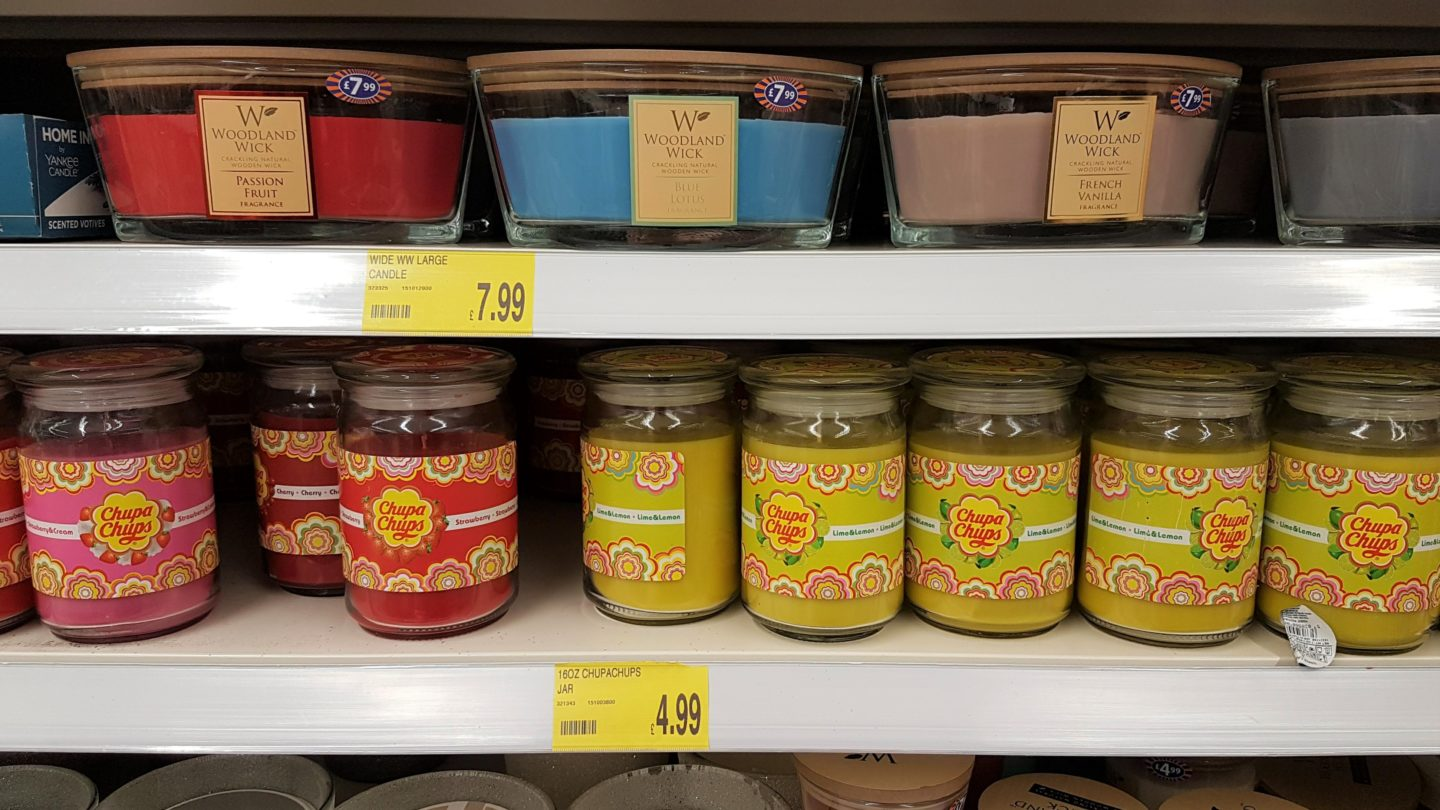 Chupa chups and large candles in B&M