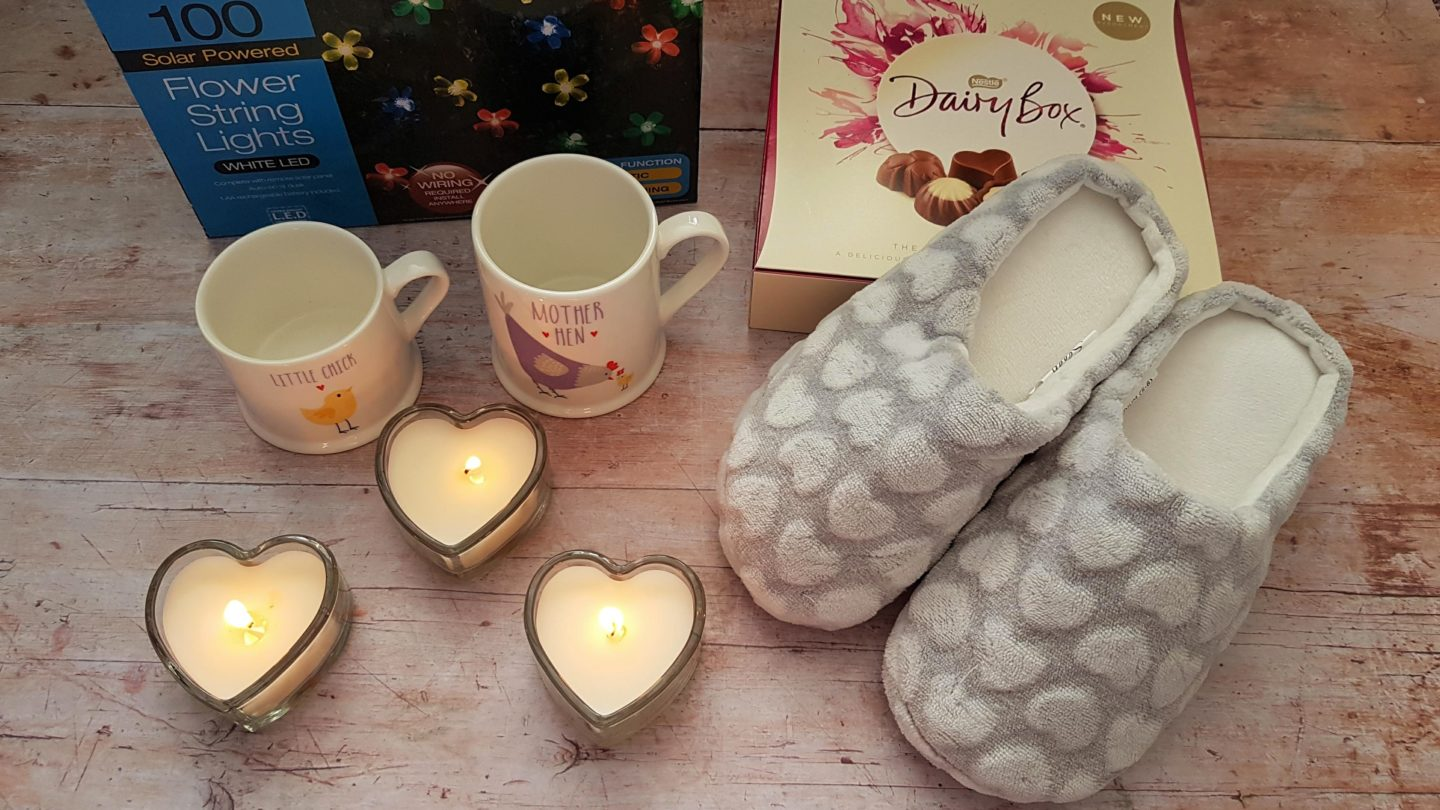 Mother's Day gifts from B&M stores including candles, slippers, chocolate, mugs and garden lights