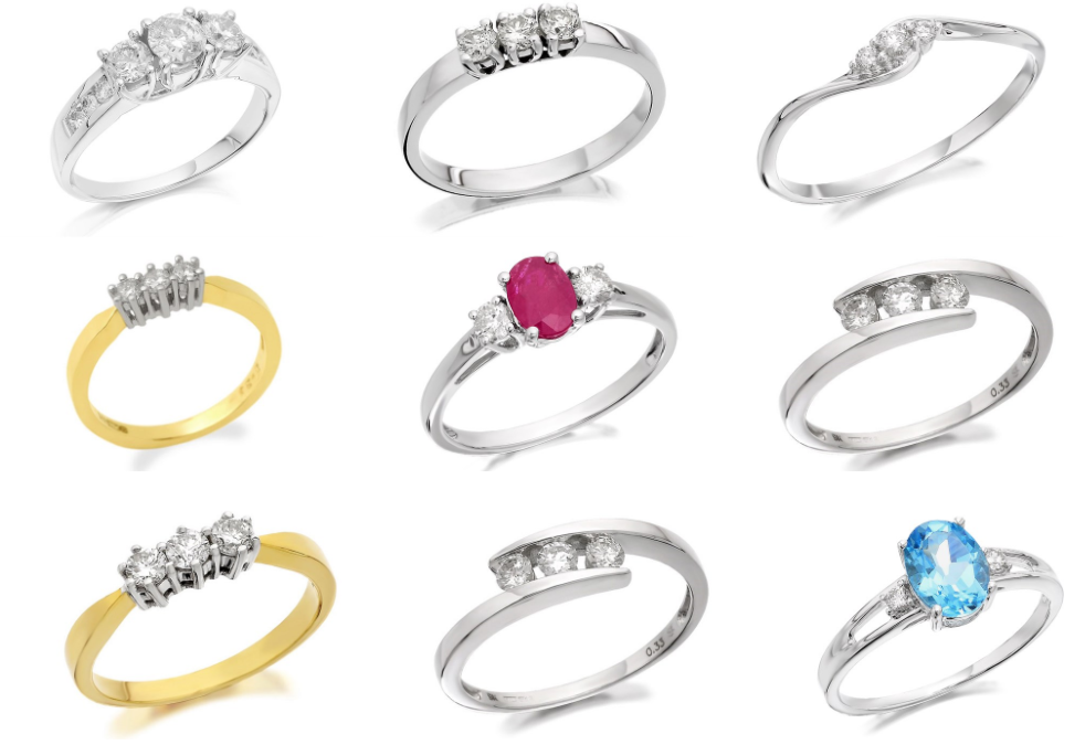 F Hinds trilogy engagement rings
