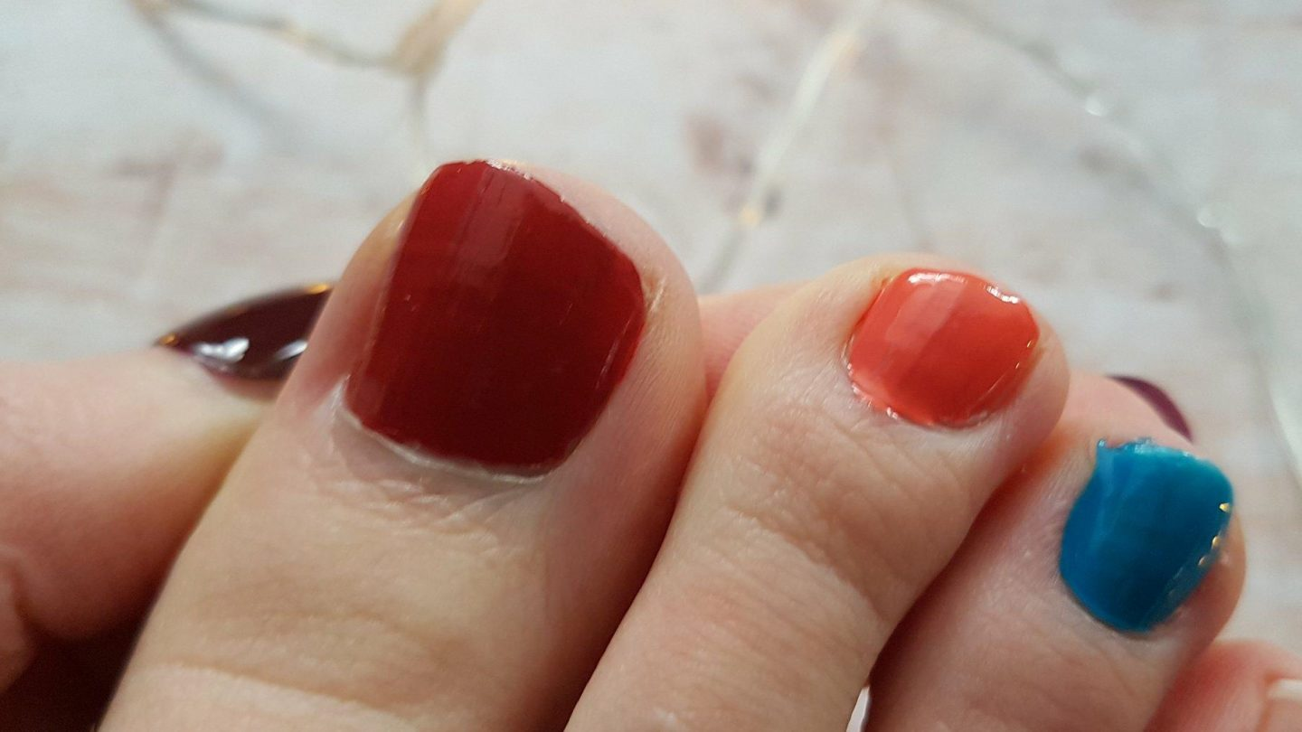 Leighton Denny nail varnishes in Feel the Burn, Get Your Cote and Bon Voyage! applied