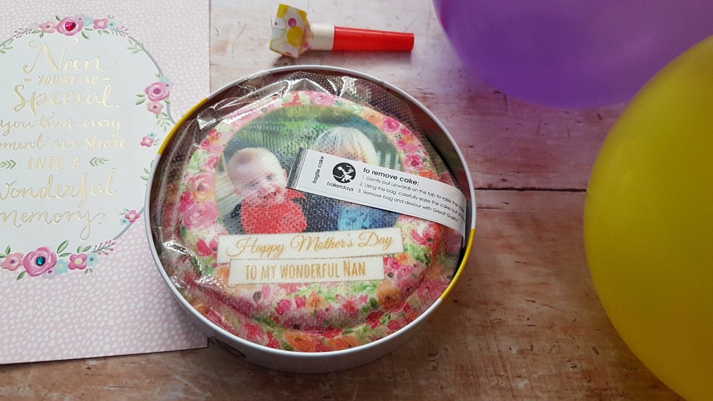 Bakerdays letterbox cake in its packaging