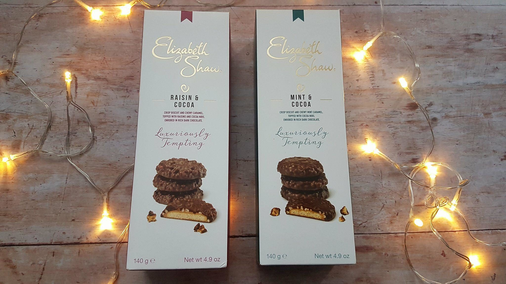 Elizabeth Shaw luxury chocolate biscuits in Raisin & Cocoa and Mint & Cocoa