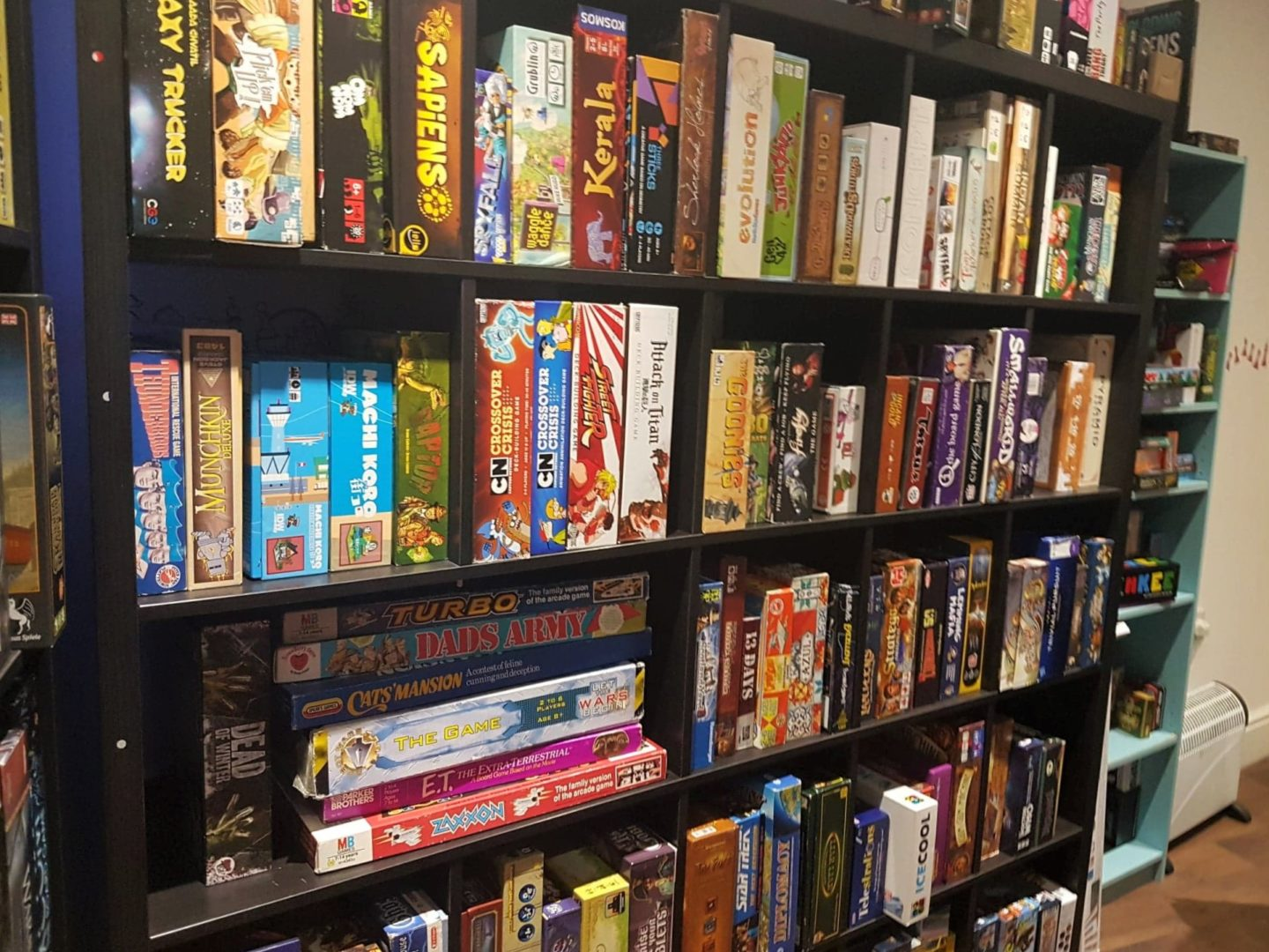 Board game library at Playopolis board game cafe in Rochester, Kent