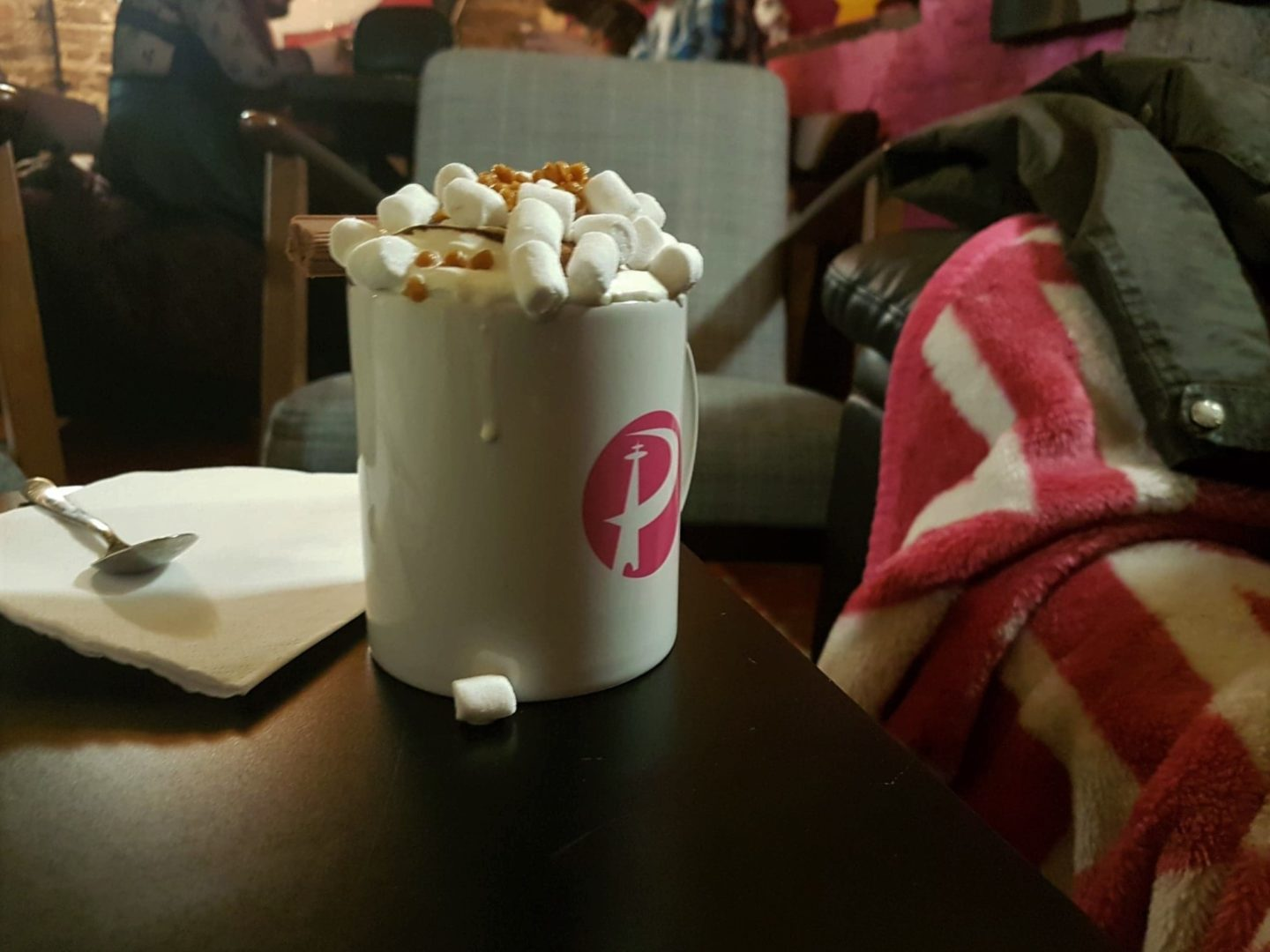 Hot chocolate and marshmallows, Playopolis board game café in Rochester, Kent