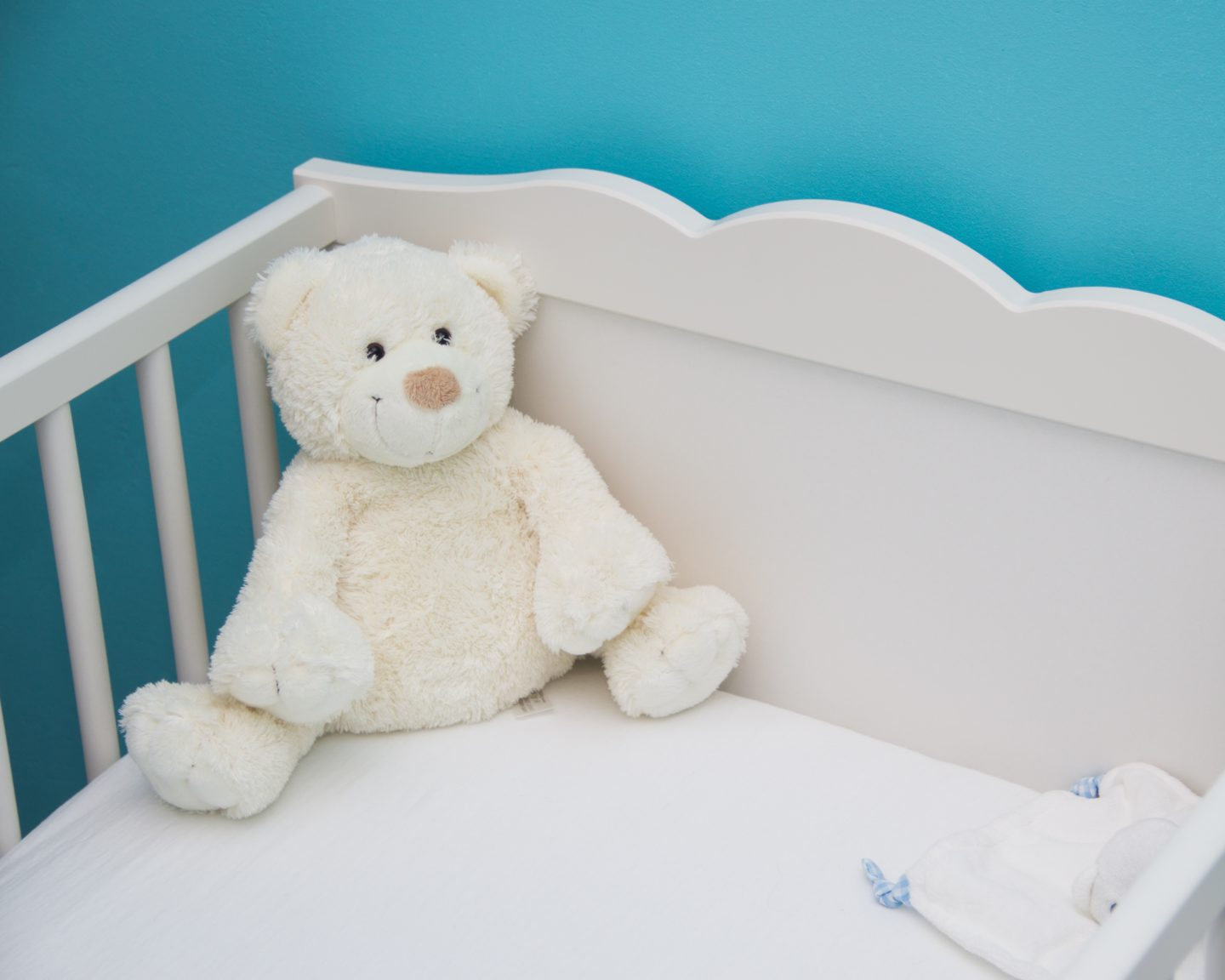 Teddy bear in cot