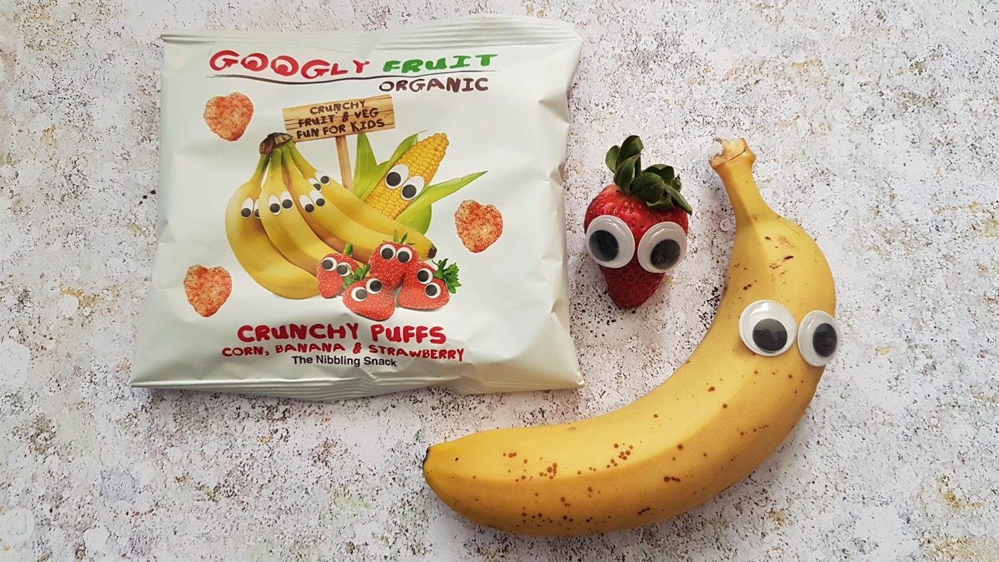 Googly Fruit strawberry and banana crunchy puffs