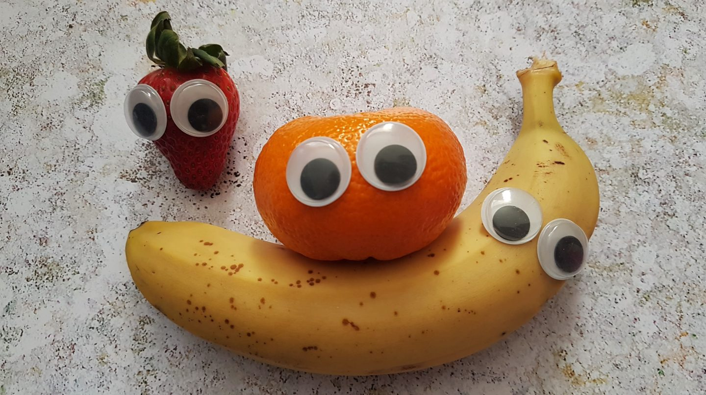 Googly Fruit banana, clementine and strawberry