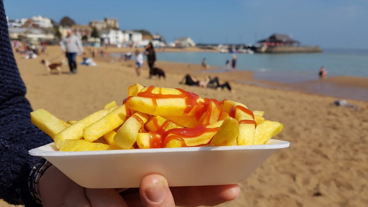Chips and ketchup on the beach
