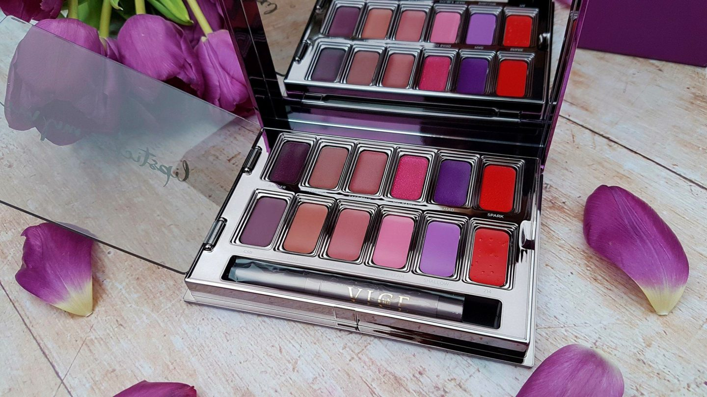 Urban Decay Vice Lipstick Palette and purple tulips