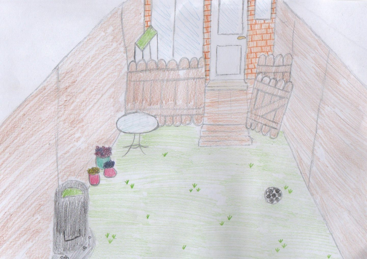 Sketch of garden makeover, including table