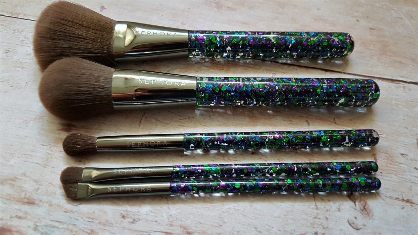 Sephora Collection blue, green and purple metallic glitter brushes
