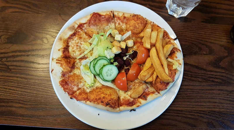 Pizza, salad and chips at The Copperfield, Gravesend
