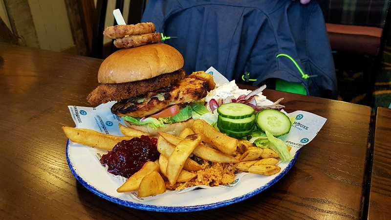 The Hen Party burger at Stonehouse pizza and carvery restaurant, The Copperfield