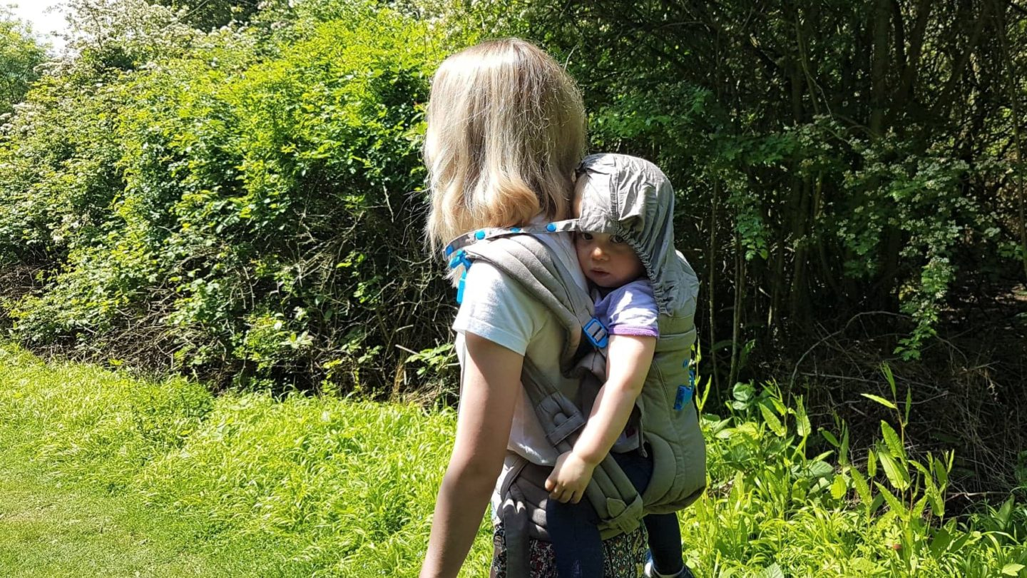 Pao Papoose baby carrier, toddler wearing hood