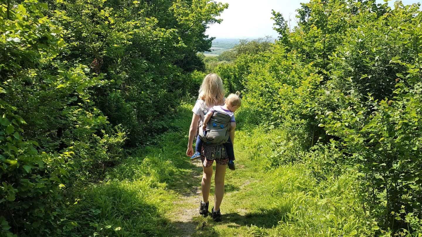 Pao Papoose baby carrier on country side walk - toddler wearing