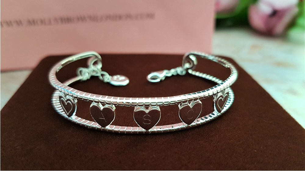 Personalised silver baby bangle from Molly Brown