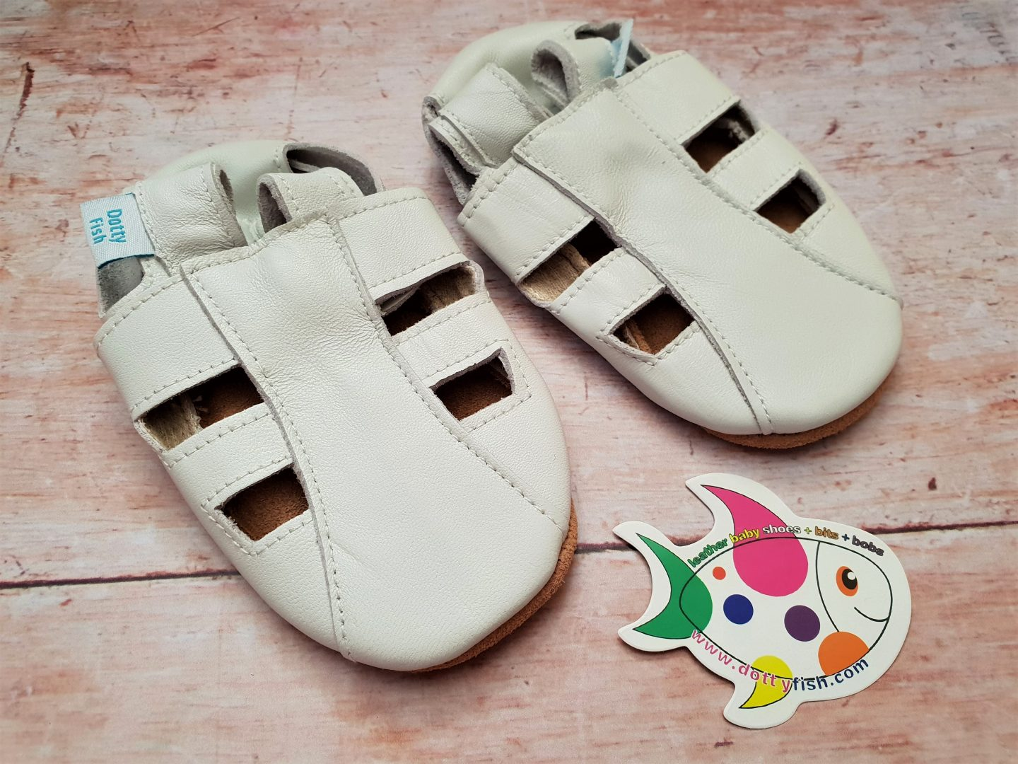 Dotty Fish white leather soft soled baby sandals