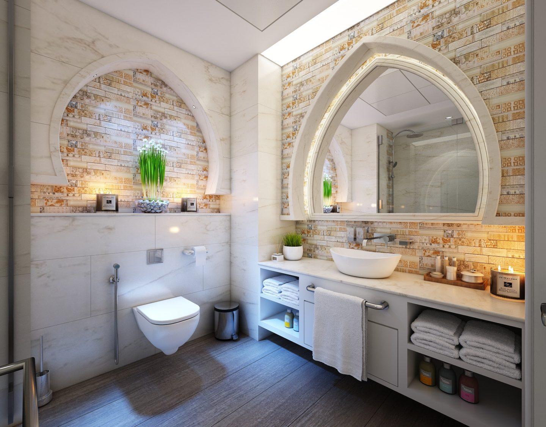 A mirror creates the illusion of a bigger bathroom