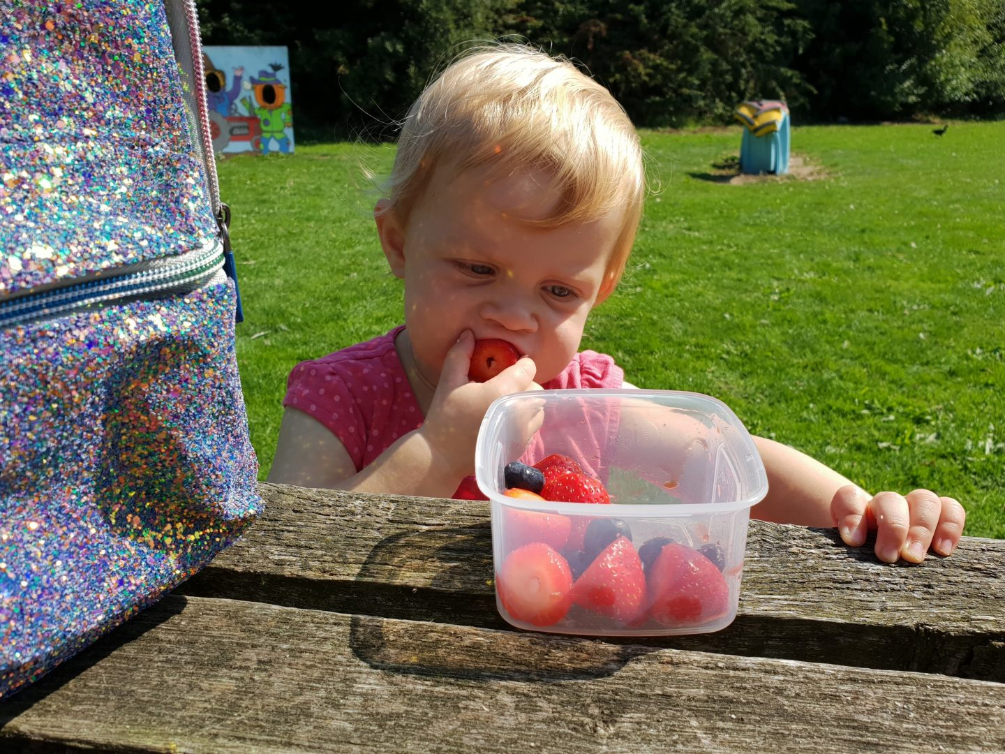 Toddler eating strawberries from Locksy snack box