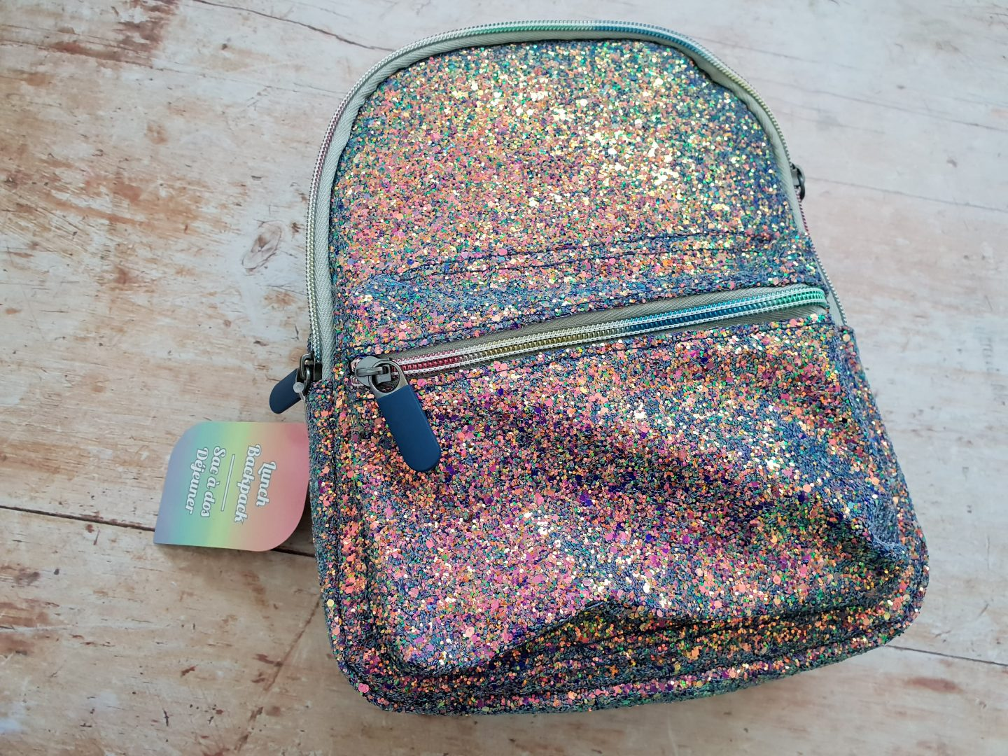 Spearmark rainbow glittery lunch backpack