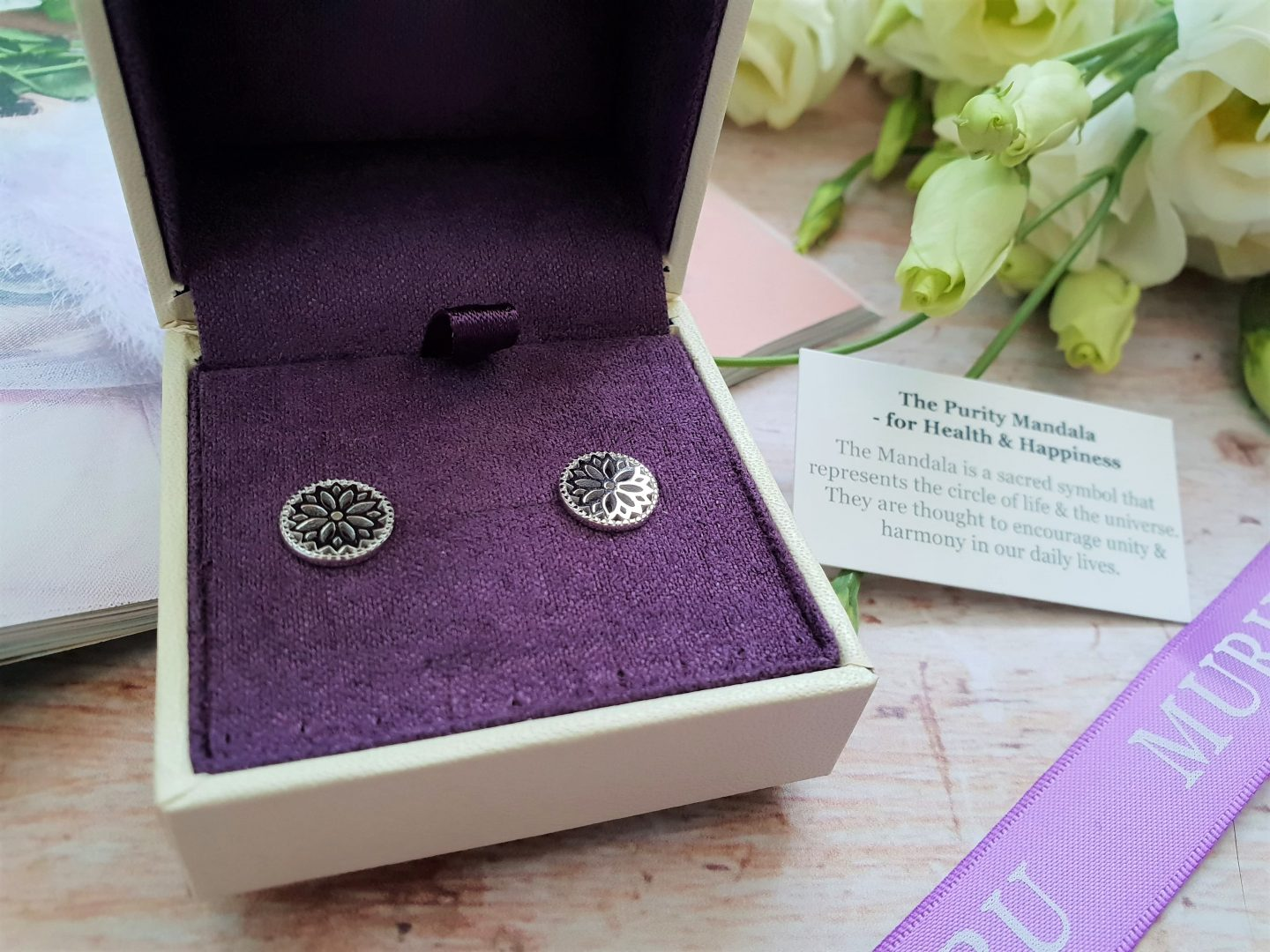 Muru jewellery Health & Happiness mandala earrings