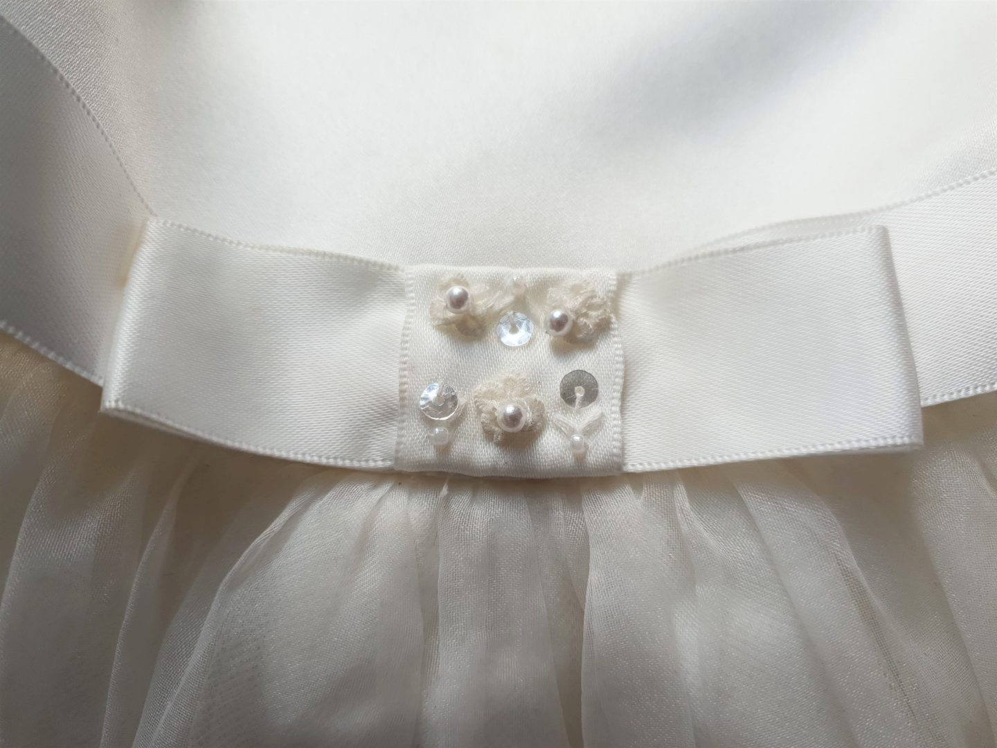 Sarah Louise Skylar dress detail - pearl and sequin embellishments