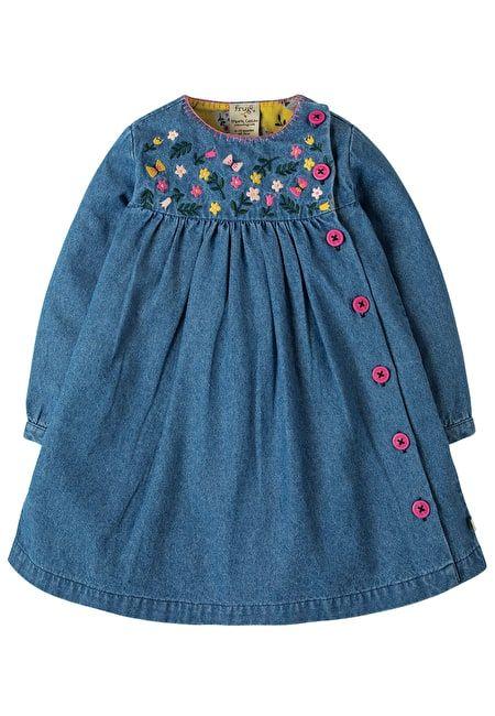 Frugi Little Edie denim embroidered dress