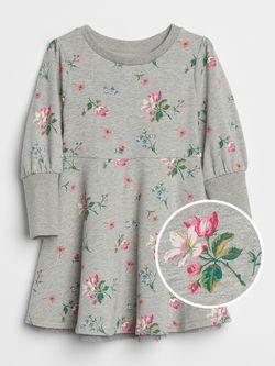 Gap floral grey sweatshirt dress