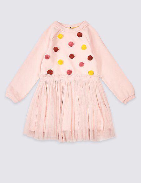 Marks and Spencer pink pom pom skirt dress