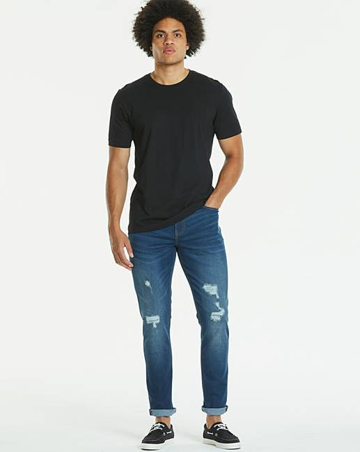 Tapered ripped indigo jeans