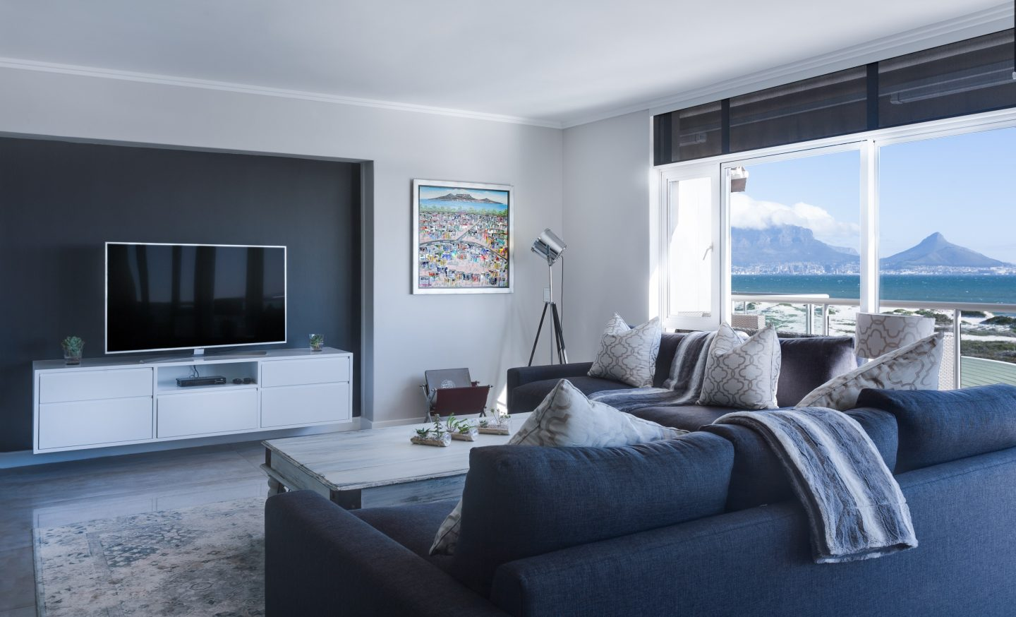Contemporary living room with accent wall niche