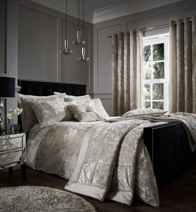 Grey crushed velvet bedspread