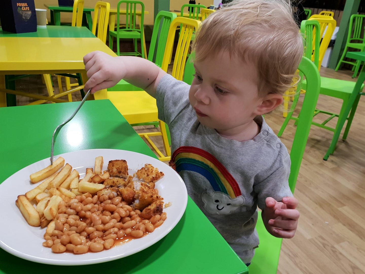 Fish finger, chips and beans at Fossil Café, Dinotropolis, Bluewater