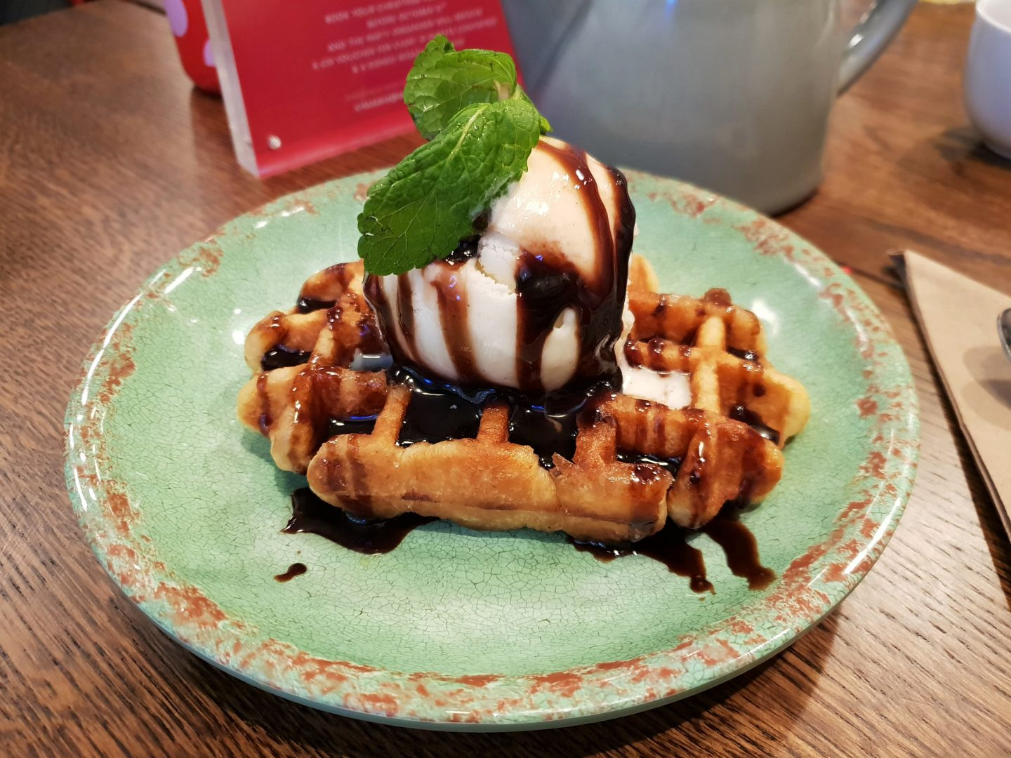 Waffle with ice cream and chocolate sauce at Rosa's Thai Cafe, Bluewater
