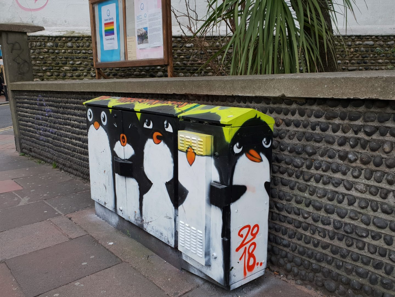Penguin box street art graffiti Brighton