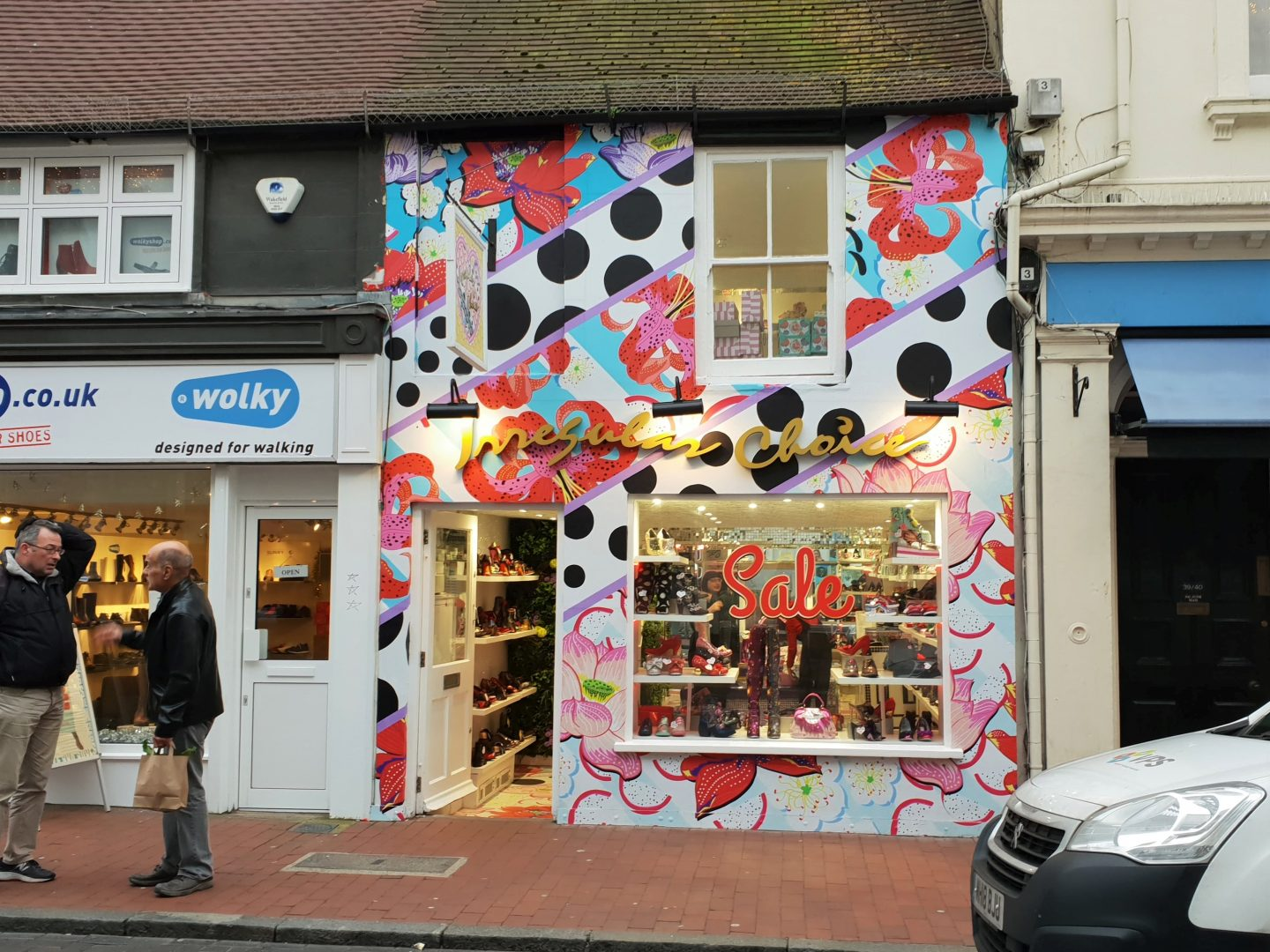 Quirky shop front of Irregular Choice Brighton January 2019