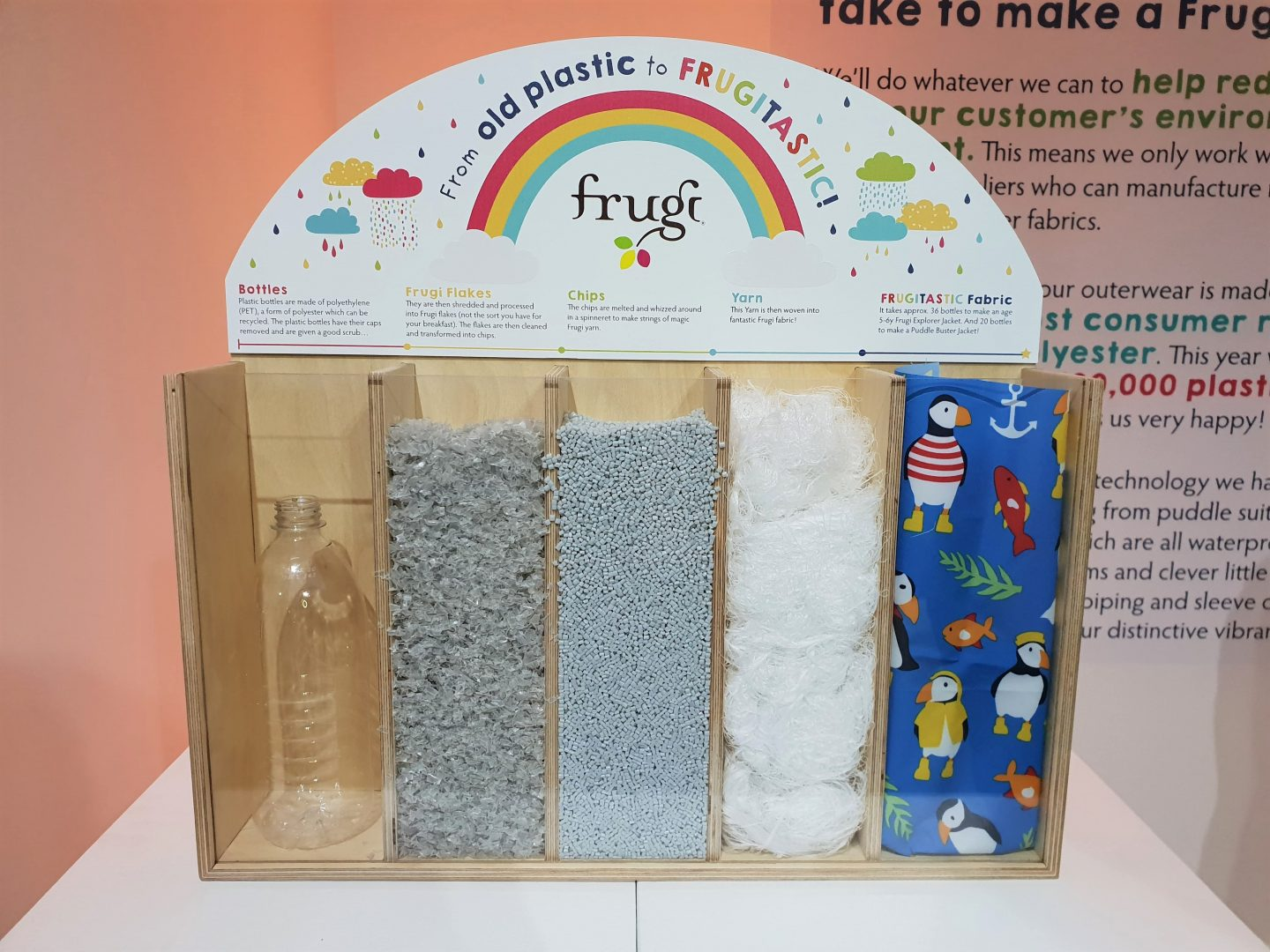 Frugi plastic bottle recycling coat display