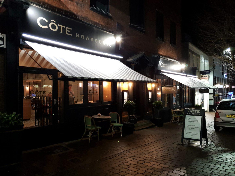 Côte Brasserie, Maidstone at night